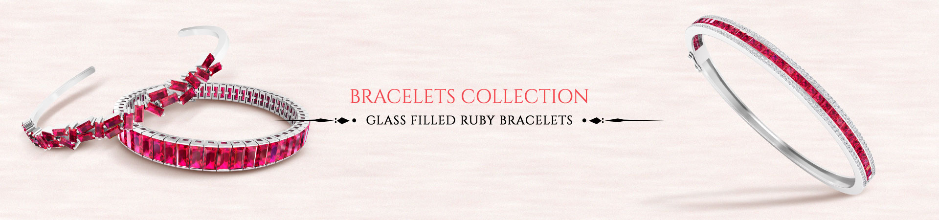 Glass Filled Ruby Bracelets